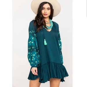 🆕 Free People Mix It Up Tunic in Jade Size S, NWT